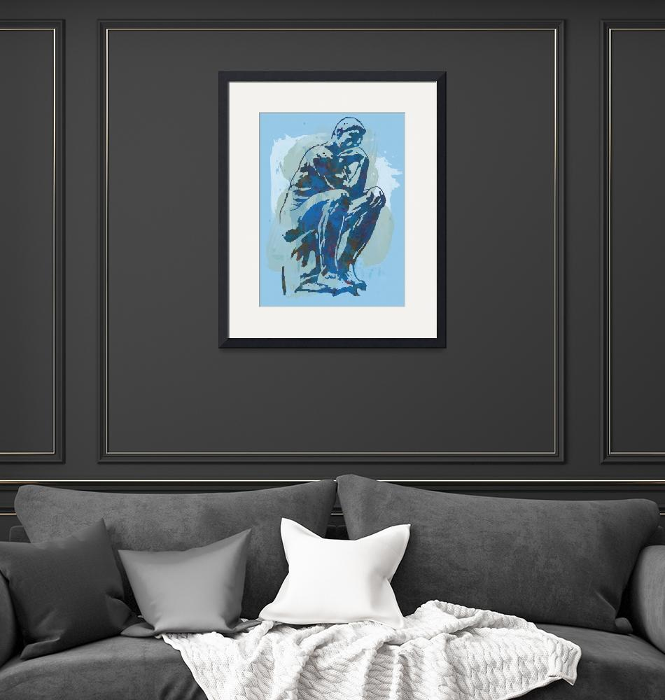 """The Thinker - Rodin Stylized Pop Art Poster""  (2014) by visualharbour"