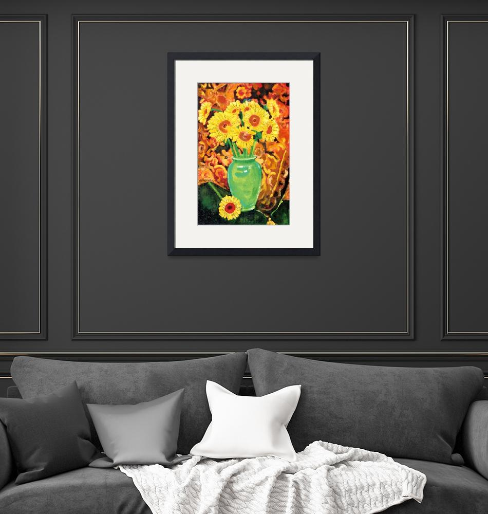 """""""Sunflowers In A Green Vase""""  (2012) by RDRiccoboni"""