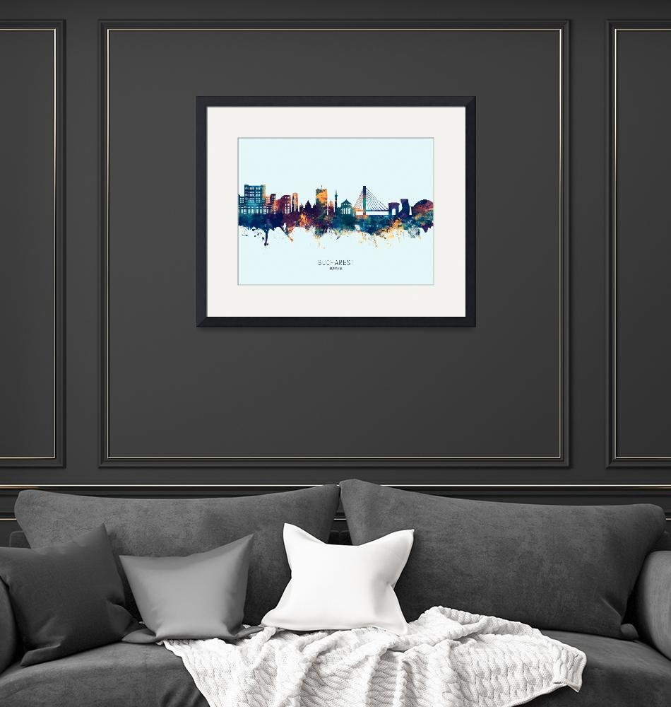 """Bucharest Romania Skyline""  (2019) by ModernArtPrints"