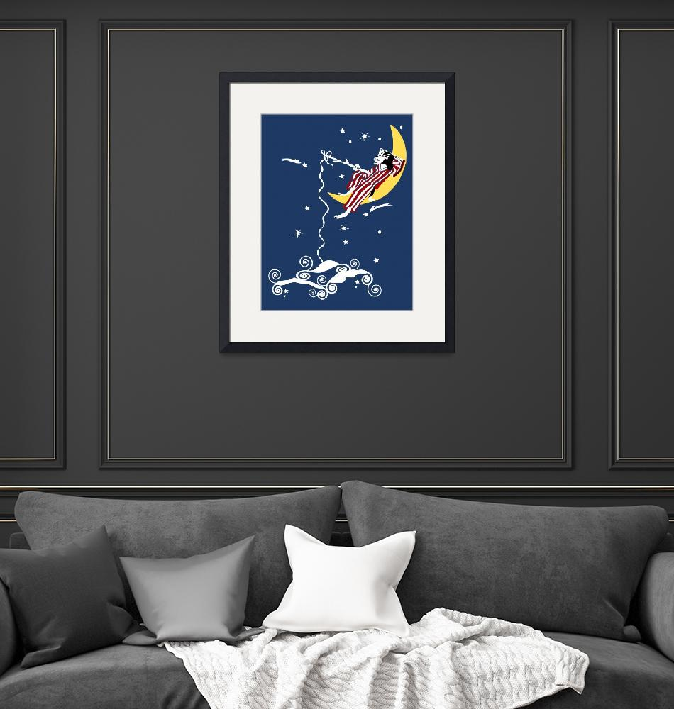 """""""Dog Fishing from the Moon""""  (2008) by kristensteinfineart"""