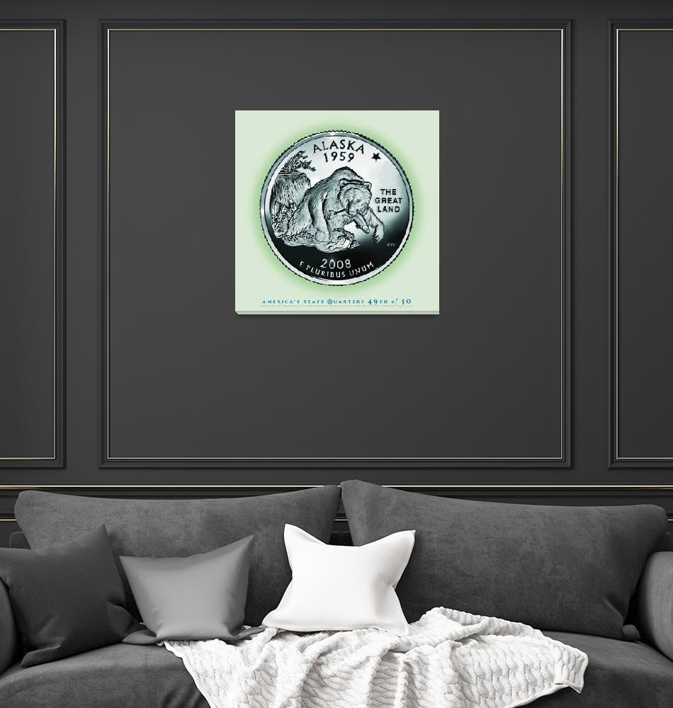"""""""Alaska State Quarter - Portrait Coin 49""""  (2017) by statequarters"""
