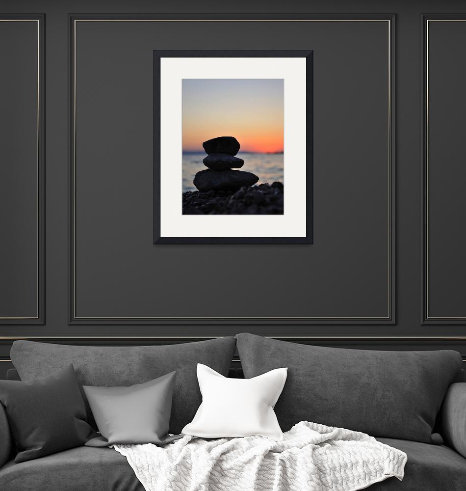 """Silhouette of three zen rocks on the beach""  (2012) by creative_photography"