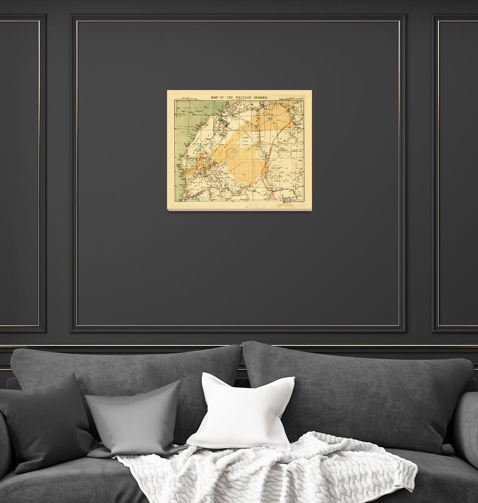 """Western Sahara Map (1876)""  by ArtHistory"