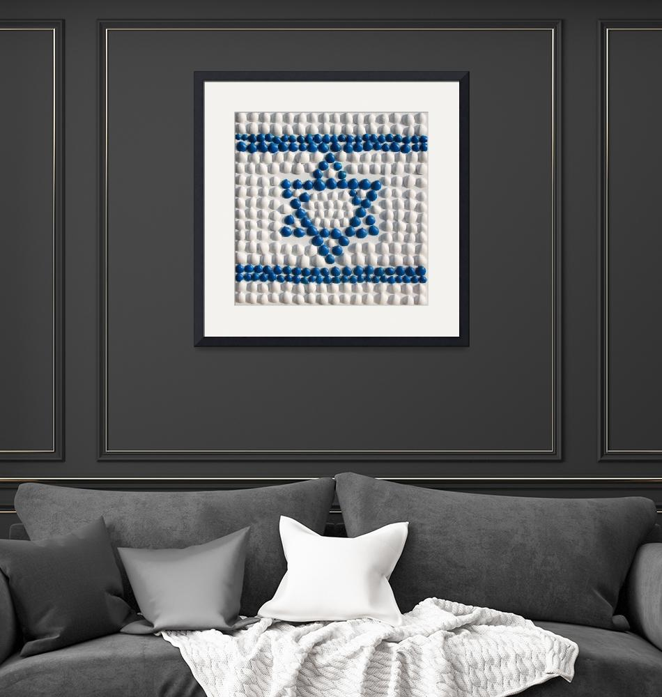 """""""The flag of Israel made of shells from Israel""""  (2014) by Aleph-Ad-Tav"""