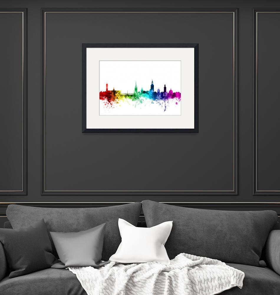 """Stockholm Sweden Skyline""  (2016) by ModernArtPrints"