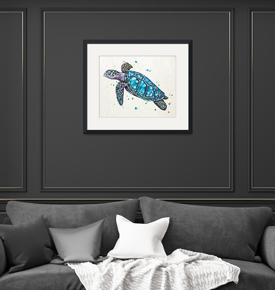 """""""Sea Turtle in Watercolor""""  (2016) by Littlepig"""