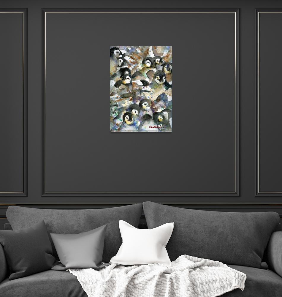 """Penguin Nursery III, Abstract Watercolor Art""  by schulmanart"
