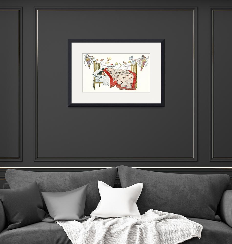 """""""Christmas Illustration Children in Bed""""  by FineArtClassics"""