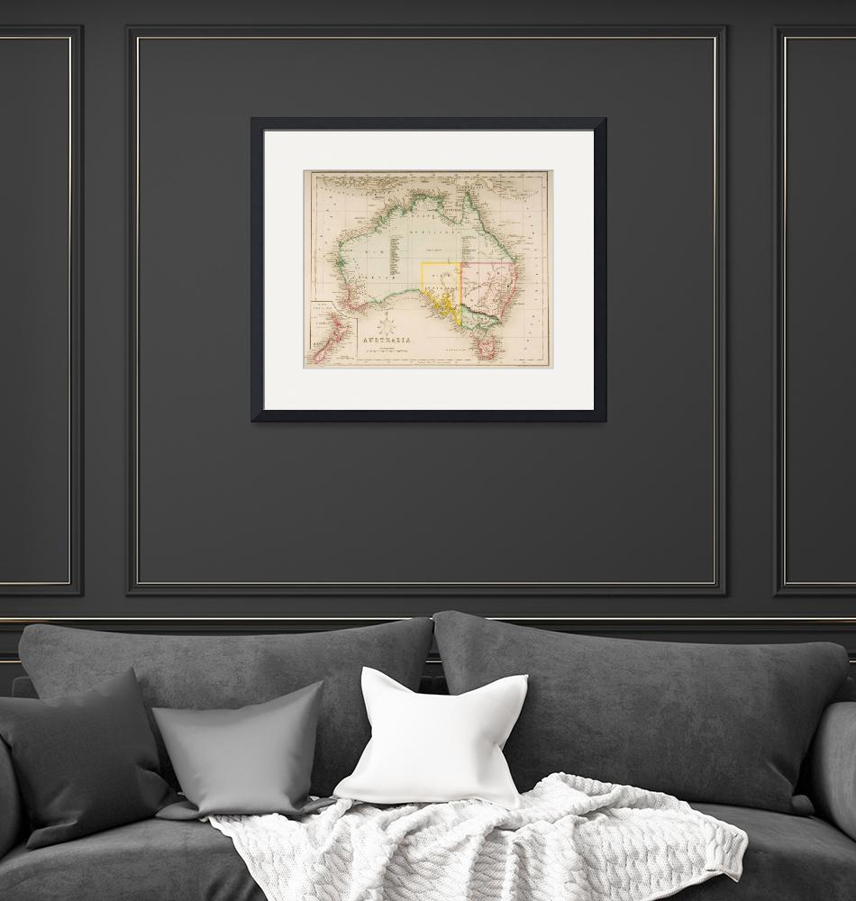 """""""Map of Australia and New Zealand""""  by fineartmasters"""