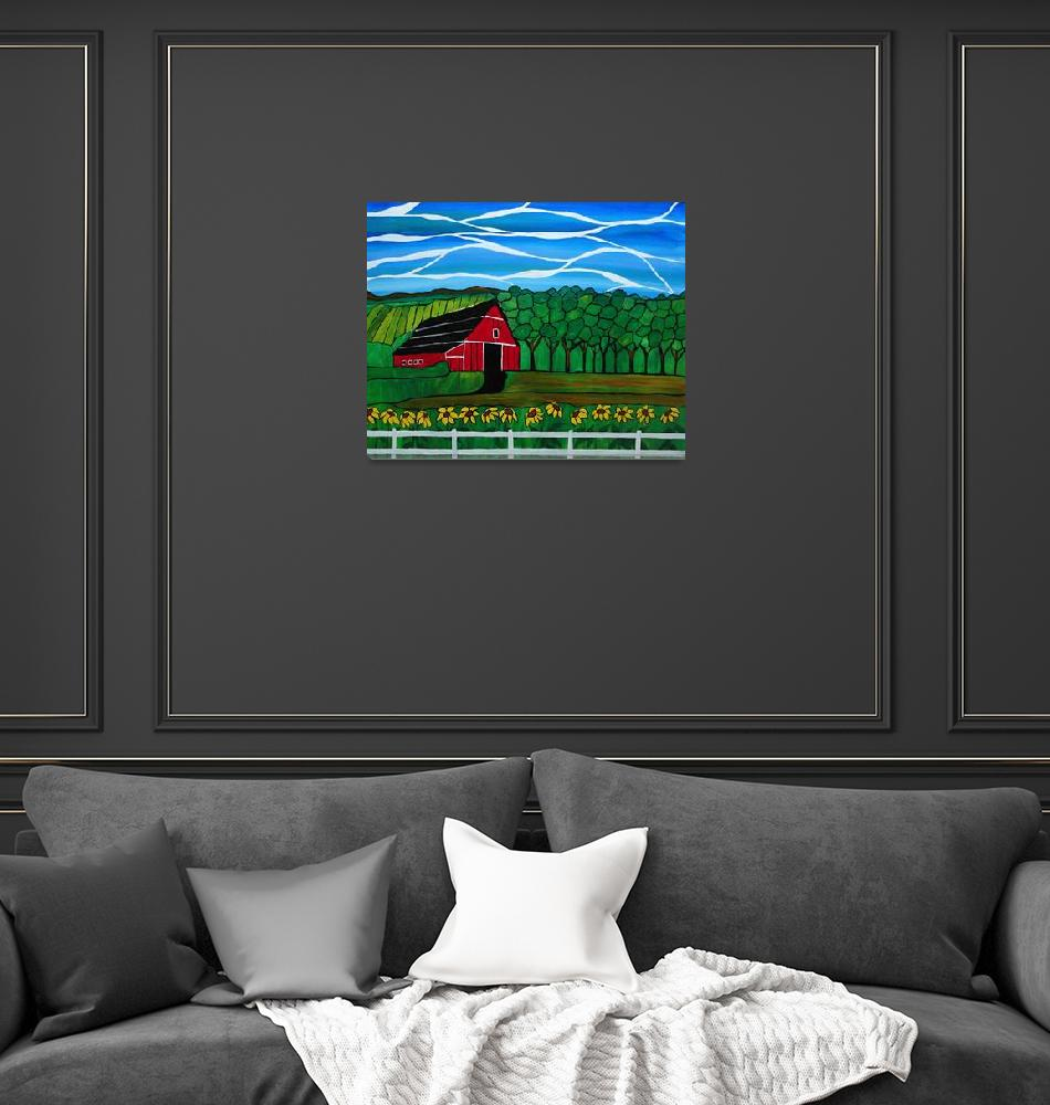 """""""Red Barn acrylic painting, """"Remembering home""""""""  (2014) by Rachelolynukart"""