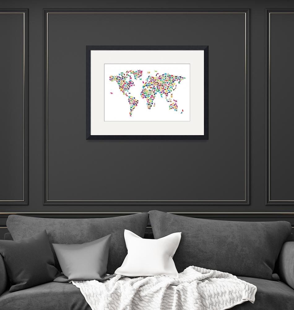 """Cats Map of the World Map""  (2012) by ModernArtPrints"
