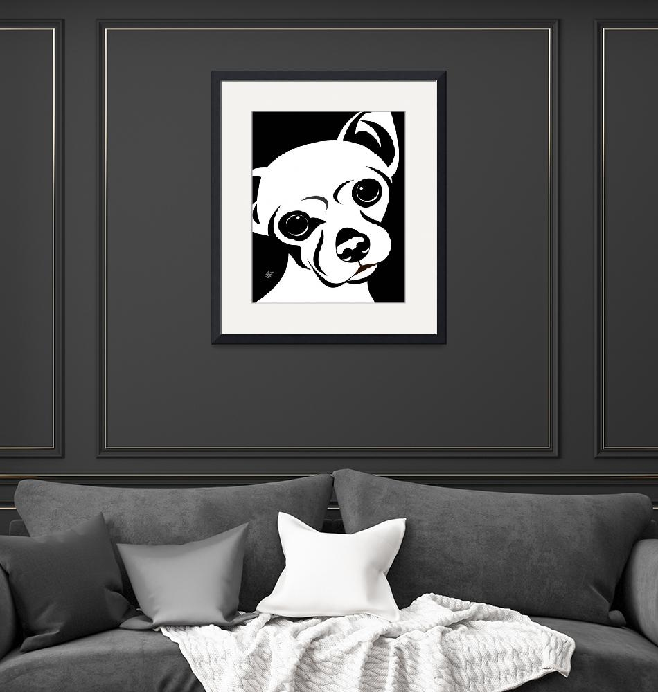 """""""Chihuahua Black and White Portrait"""" by waterart"""