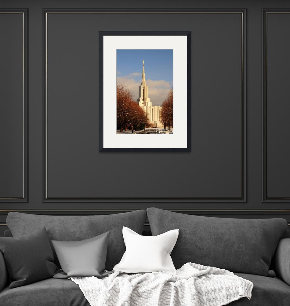 """""""jordan river temple pretty trees from west at suns""""  by houstonryan"""