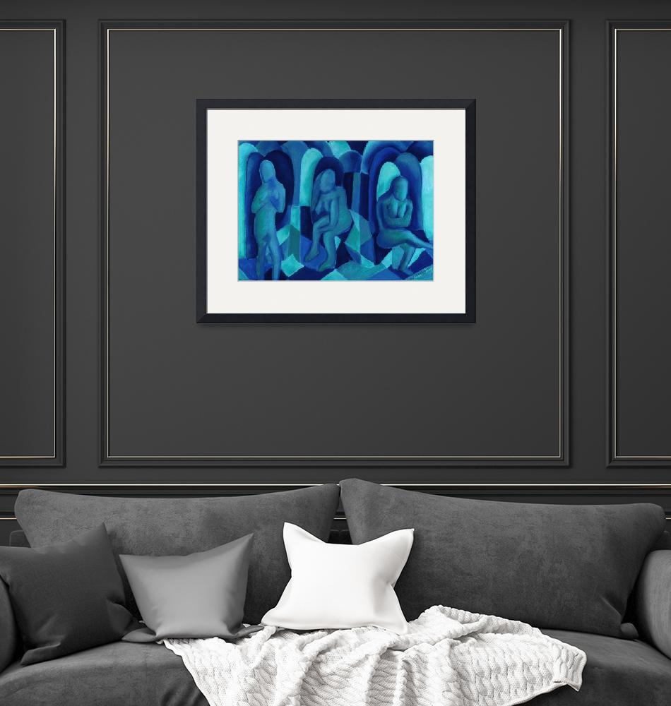 """""""Reflections in Blue I""""  by DianeClancy"""