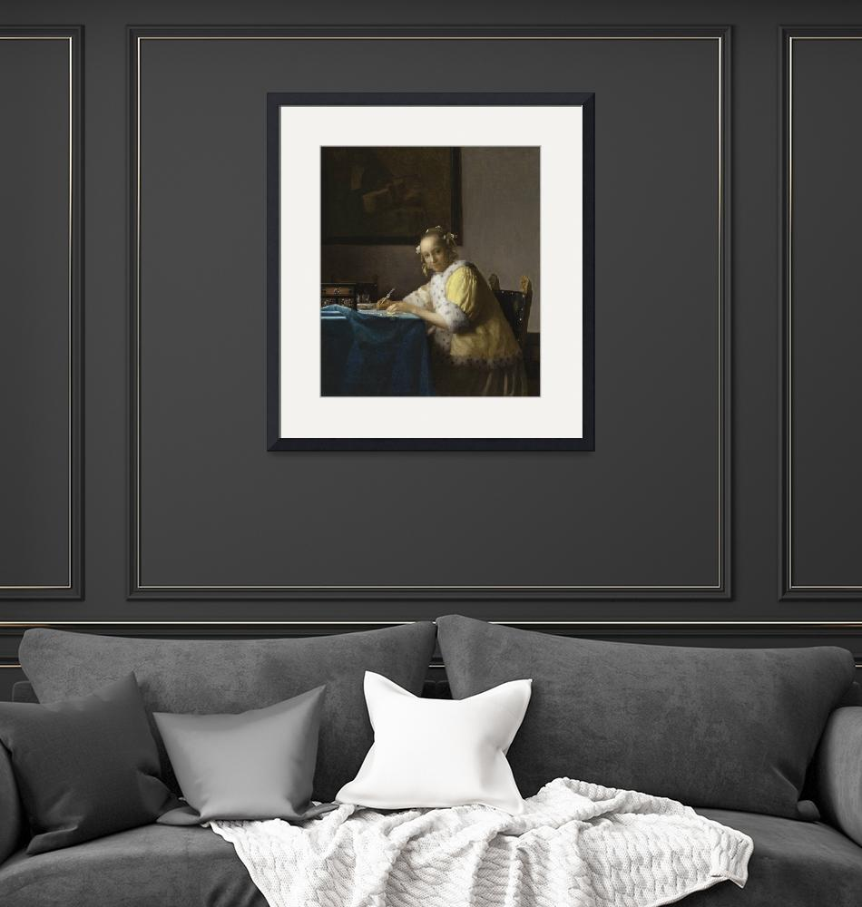 """""""A Lady Writing a Letter by Johannes Vermeer"""" by FineArtClassics"""