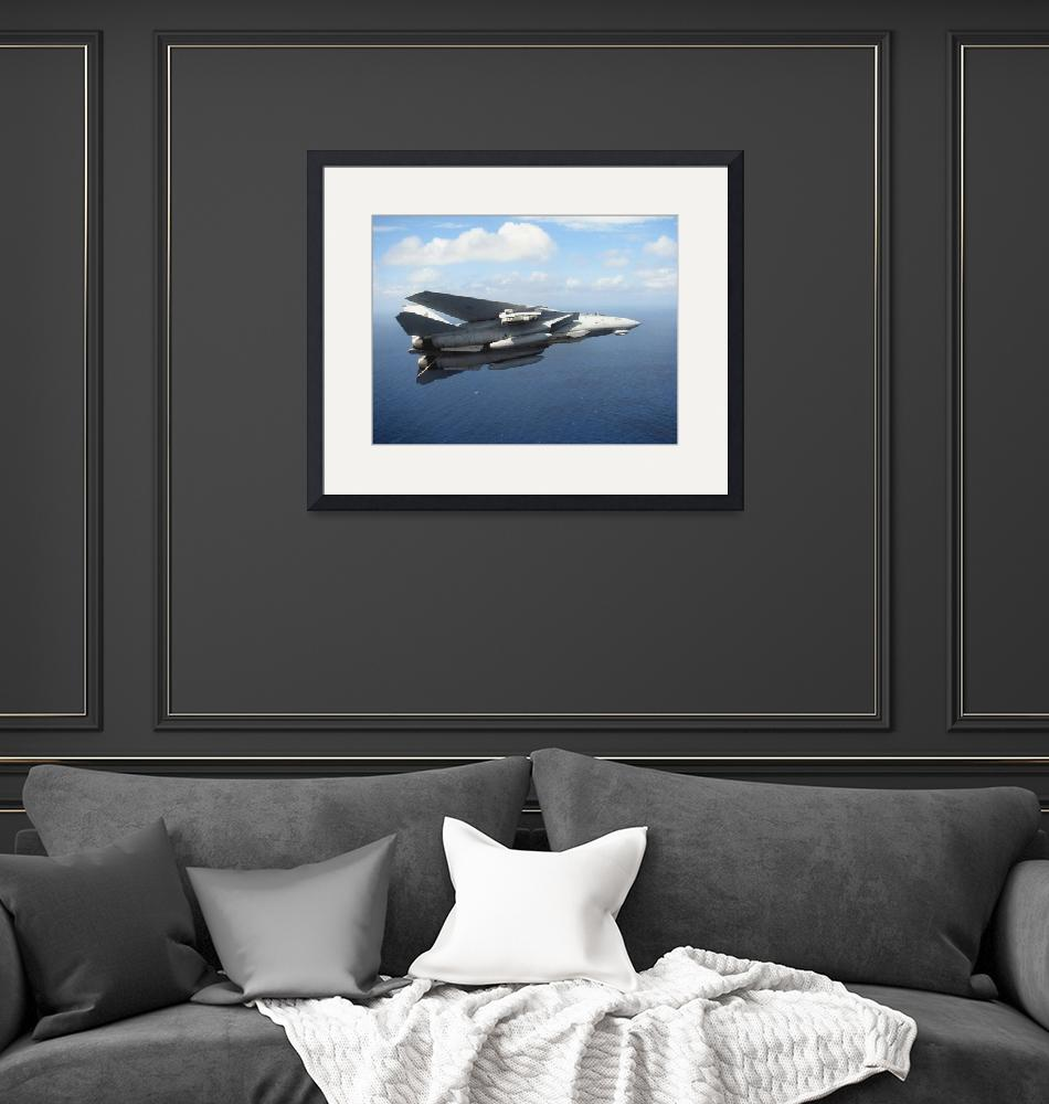 """""""An F14D Tomcat banks with its tailhook lowered in"""" by stocktrekimages"""