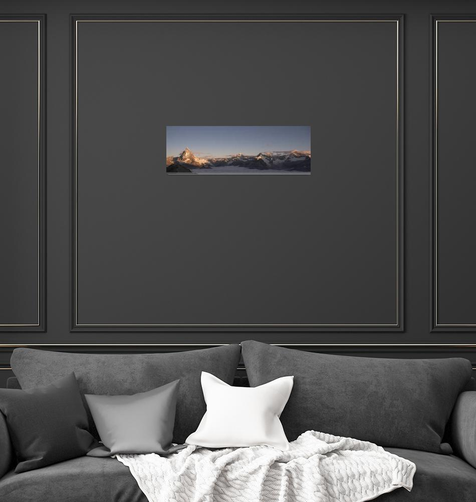"""""""Panoramic view of the Matterhorn at sunrise""""  (2007) by peterwey"""