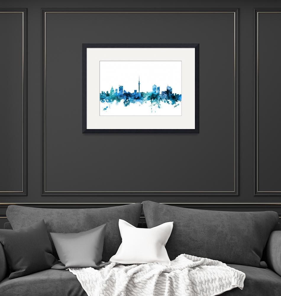 """Auckland New Zealand Skyline""  (2018) by ModernArtPrints"