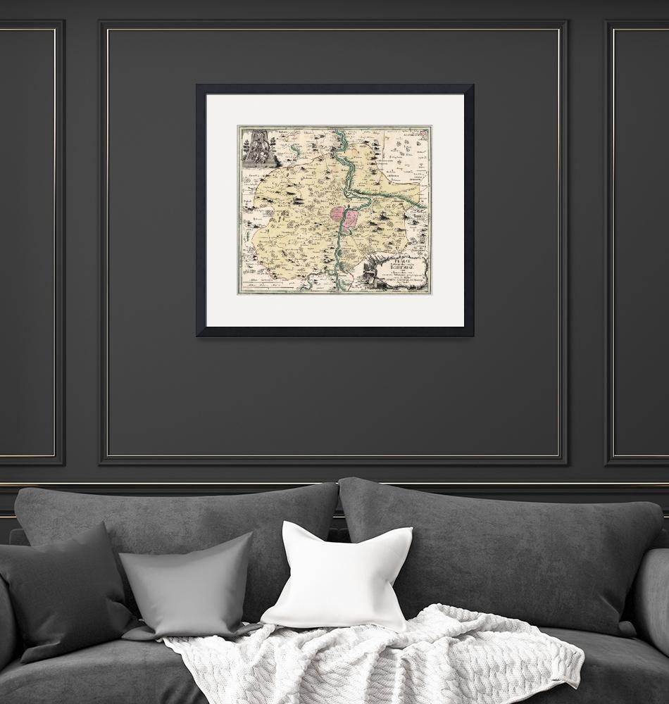 """Vintage Map of Prague & Surrounding Area (1740)""  by Alleycatshirts"