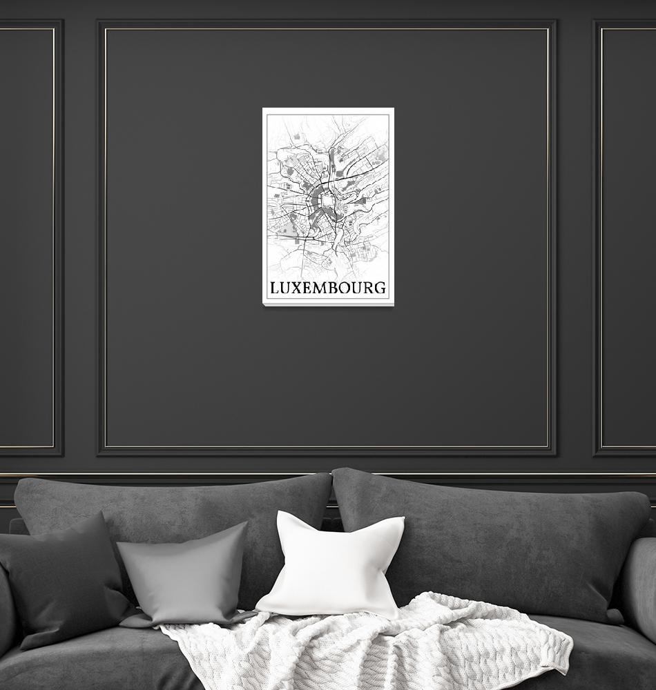 """""""Luxembourg, Luxembourg, city map print.""""  by dandistudio"""