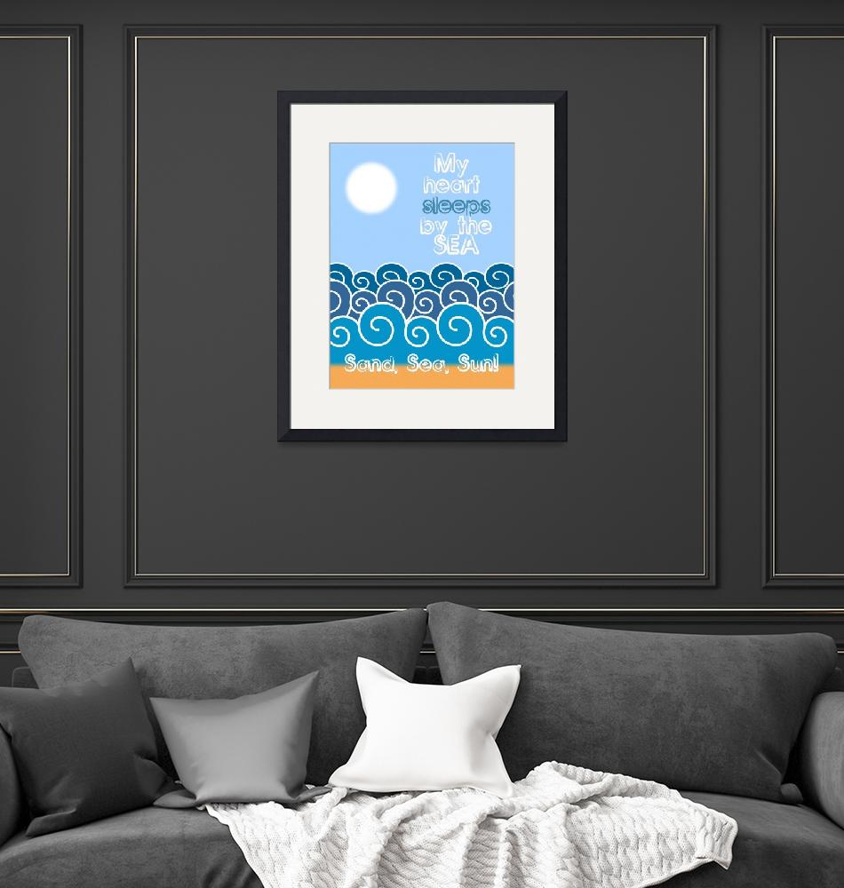 """""""My heart sleeps by the sea Minimalist Poster""""  by motionage"""