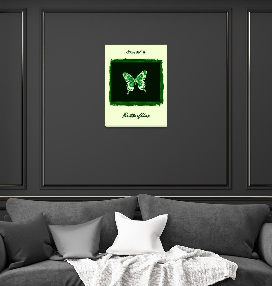 """""""Green & White Butterfly with frame, borders, & tex""""  (2013) by TheNorthernTerritory"""