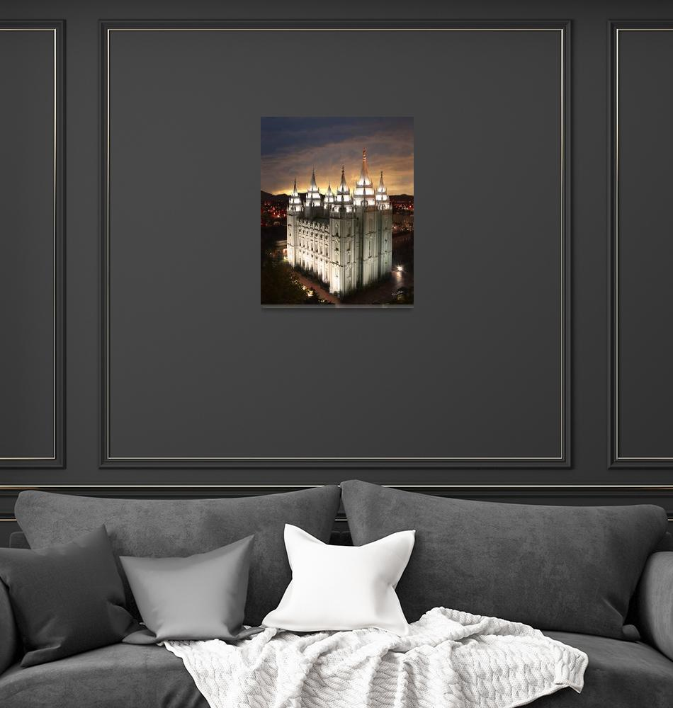 """Salt Lake Temple Cloudy Sunset""  (2008) by lightvoyages"