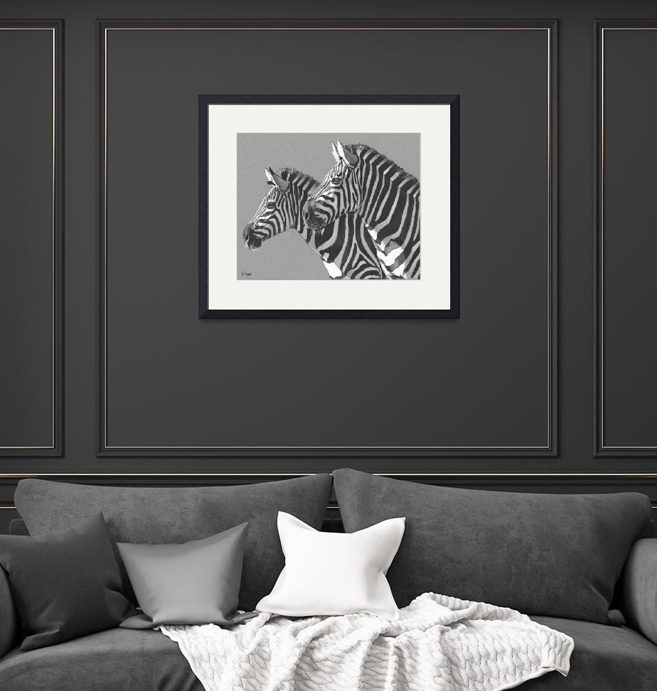 """Original ink drawing zebras""  (2019) by yuezeng"
