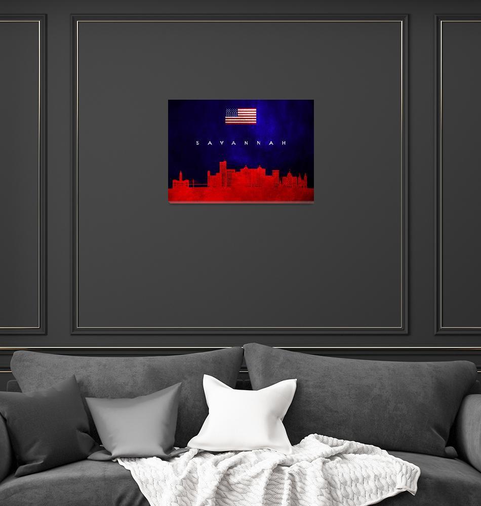 """""""Savannah Georgia Skyline""""  (2019) by ABConcepts"""