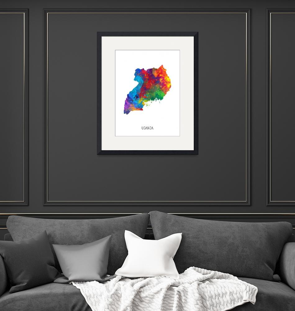 """Uganda Watercolor Map""  (2019) by ModernArtPrints"