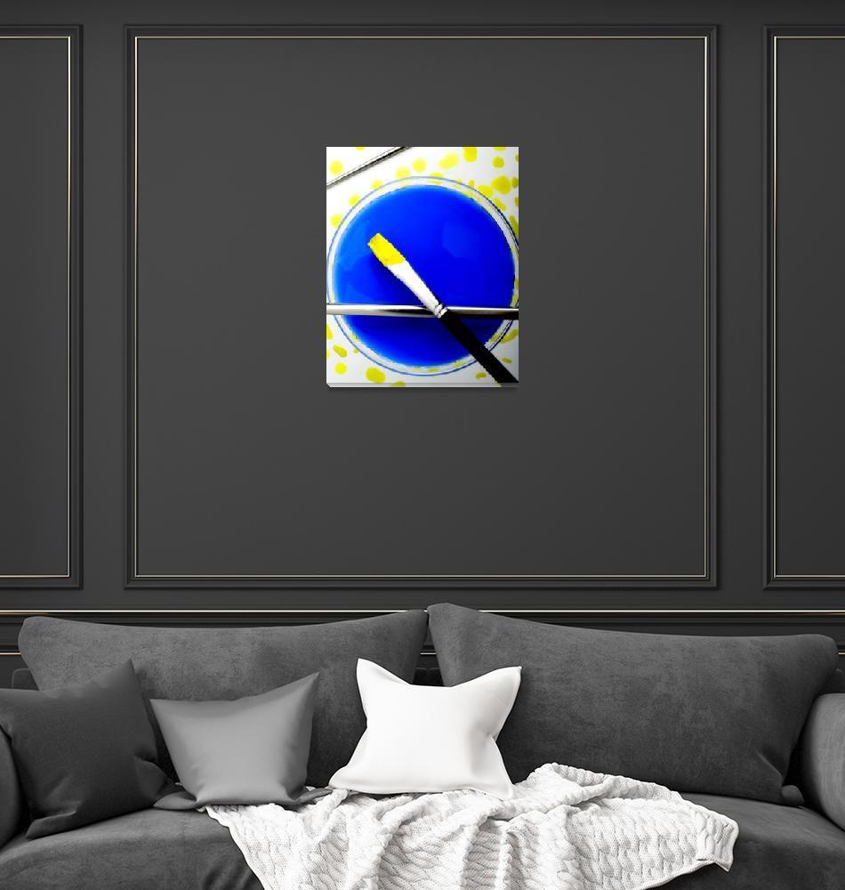 """DIAGONAL BRUSH YELLOW ON BLUE, EDIT B""  (2013) by nawfalnur"