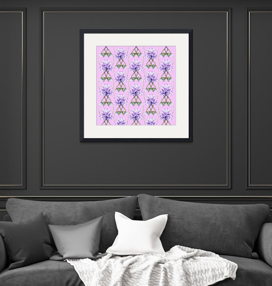 """Purple Flowers On The Lilac Field Pattern""  (2015) by IrinaSztukowski"
