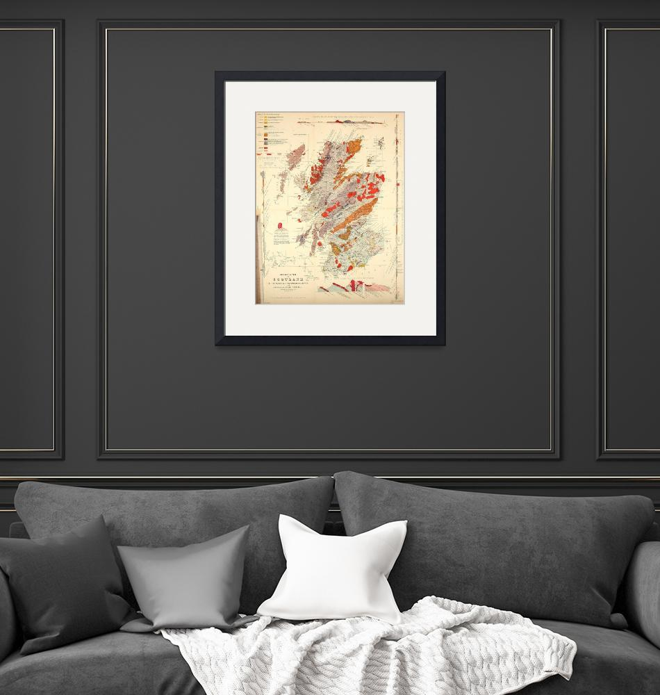 """Vintage Scotland Geological Map (1865)""  by Alleycatshirts"