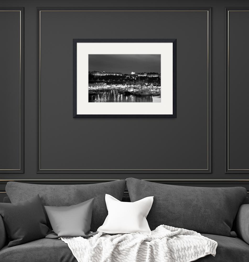 """black and white monaco palace and bay""  (2010) by chinagirlsz"