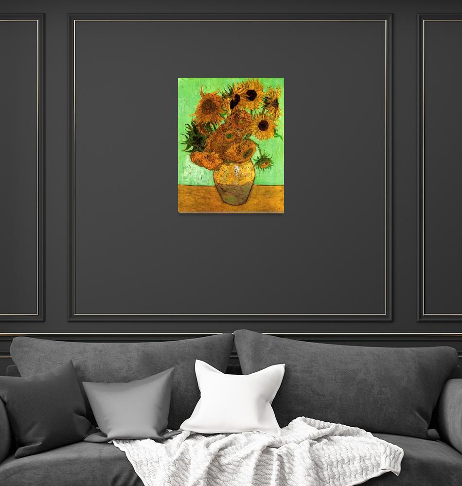 """Still Life Vase with Twelve Sunflowers 2""  by ArtLoversOnline"