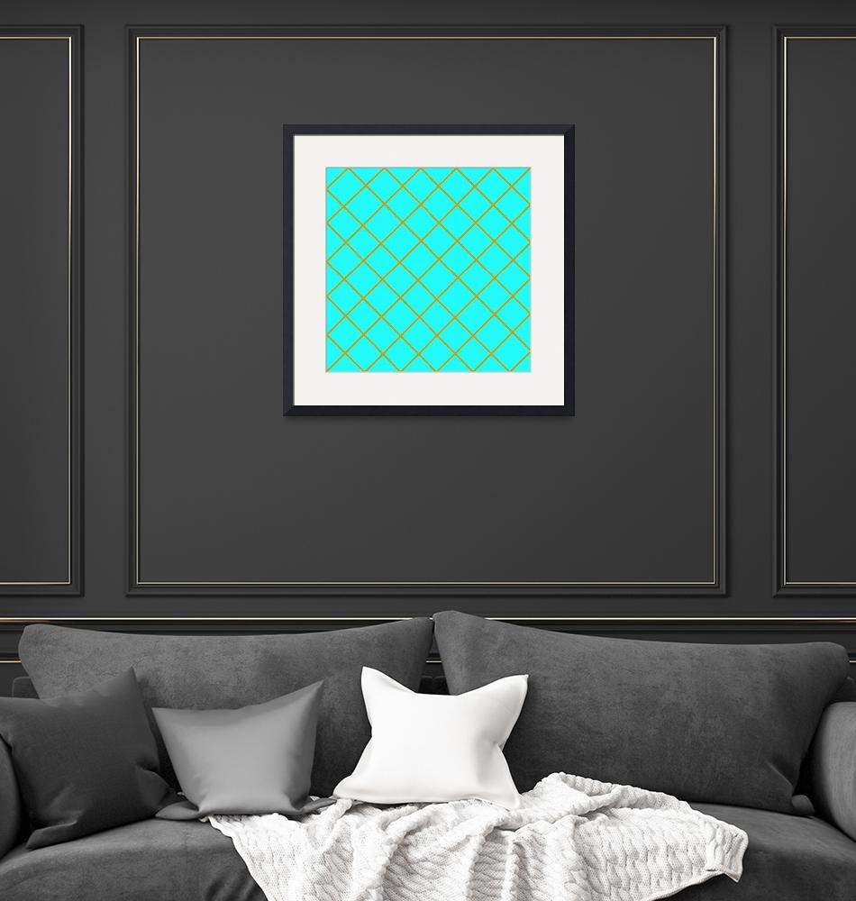 """gold strip pattern turquoise""  by simmonsgareth"