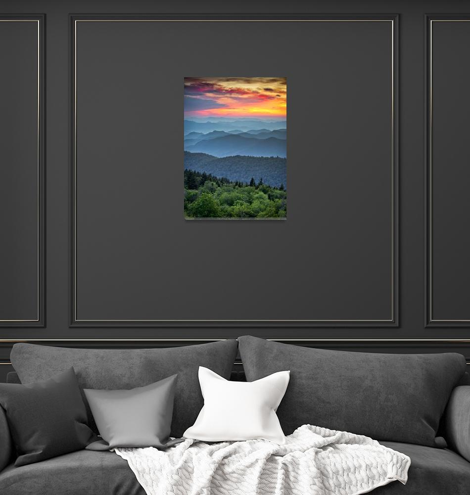 """""""Blue Ridge Parkway Sunset - The Great Blue Yonder""""  (2011) by DAPhoto"""