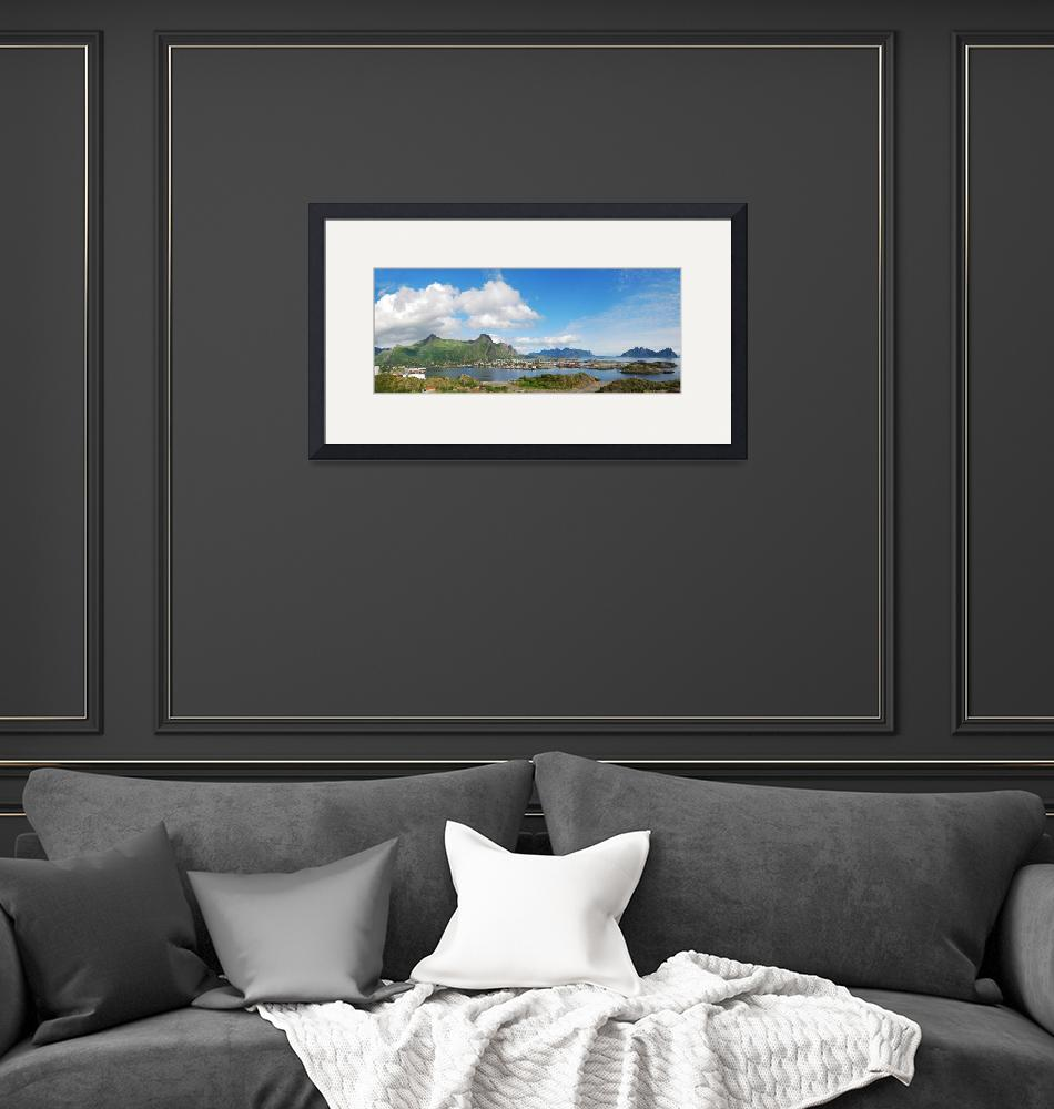 """""""Panorama of Lofoten islands with small town""""  (2010) by olegmit"""