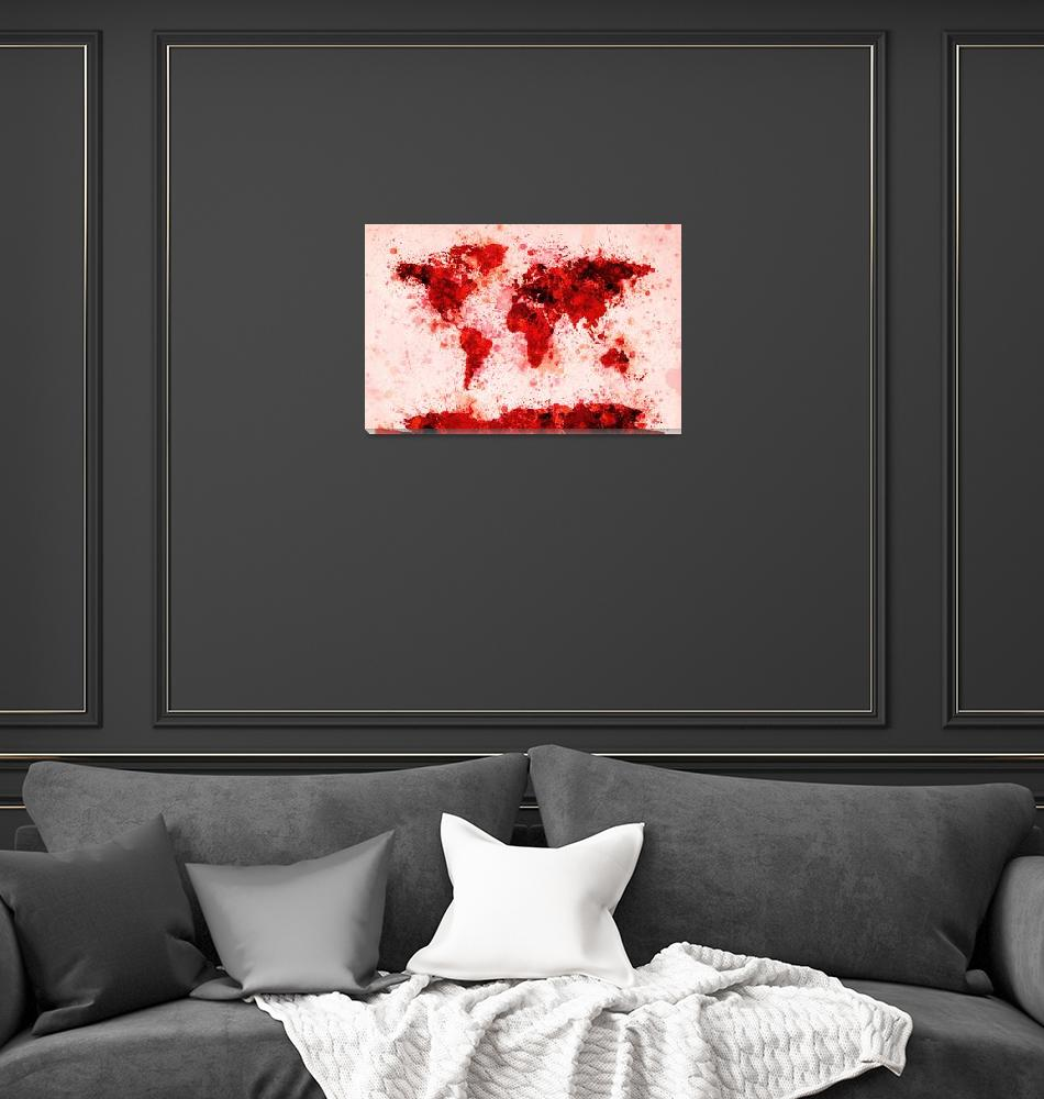 """World Map Paint Splashes Red""  (2011) by ModernArtPrints"
