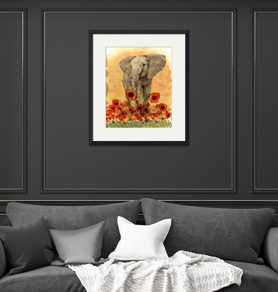 """Elephant in The Poppies""  (2015) by LJdesigns"