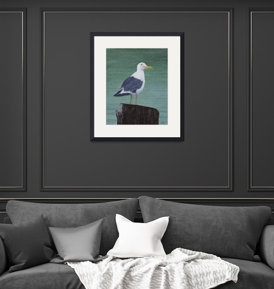 """""""Seagull on Pier""""  (2014) by RobinCowles"""