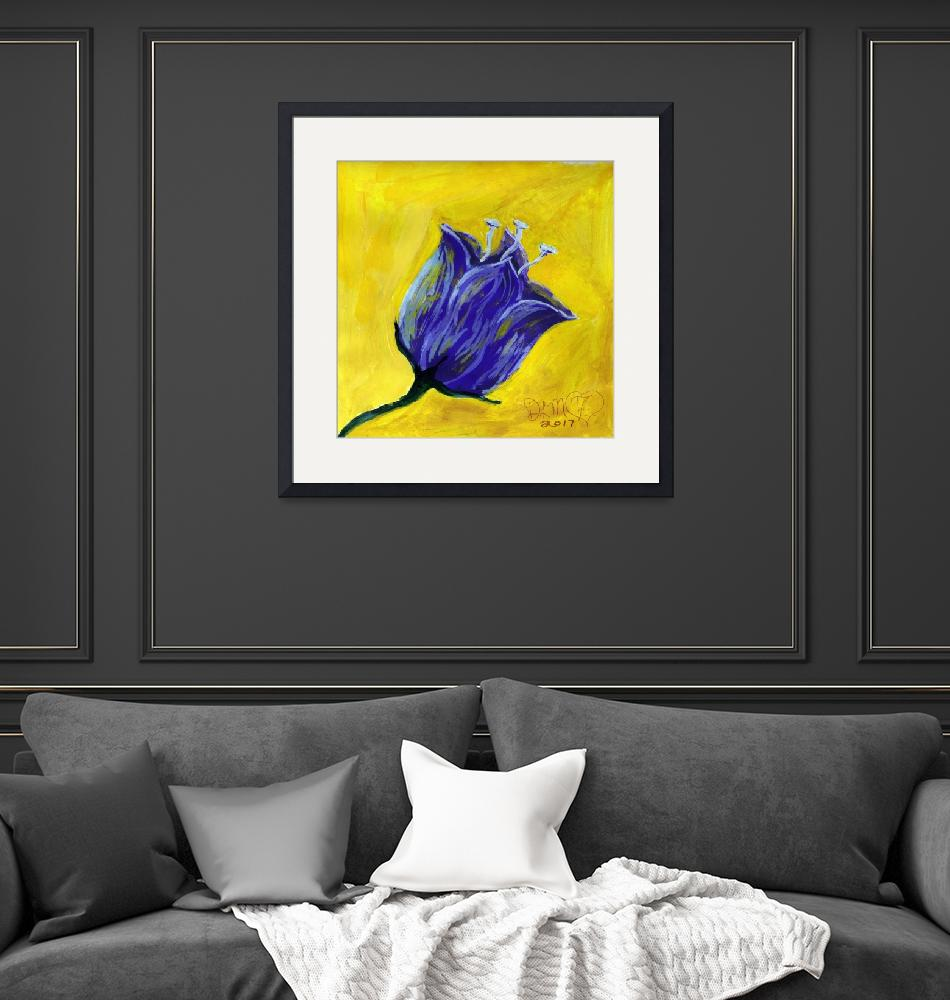 """""""purple tulip on yellow acrylic painting""""  (2017) by dlmtleArt"""