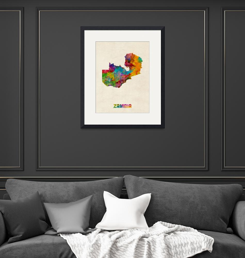 """Zambia Watercolor Map""  (2015) by ModernArtPrints"