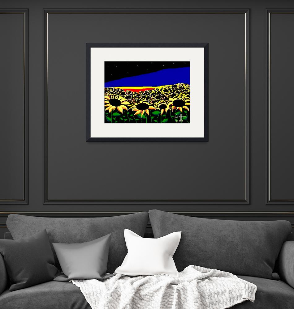 """""""Sunflowers at Sunset""""  (2015) by davegafford"""