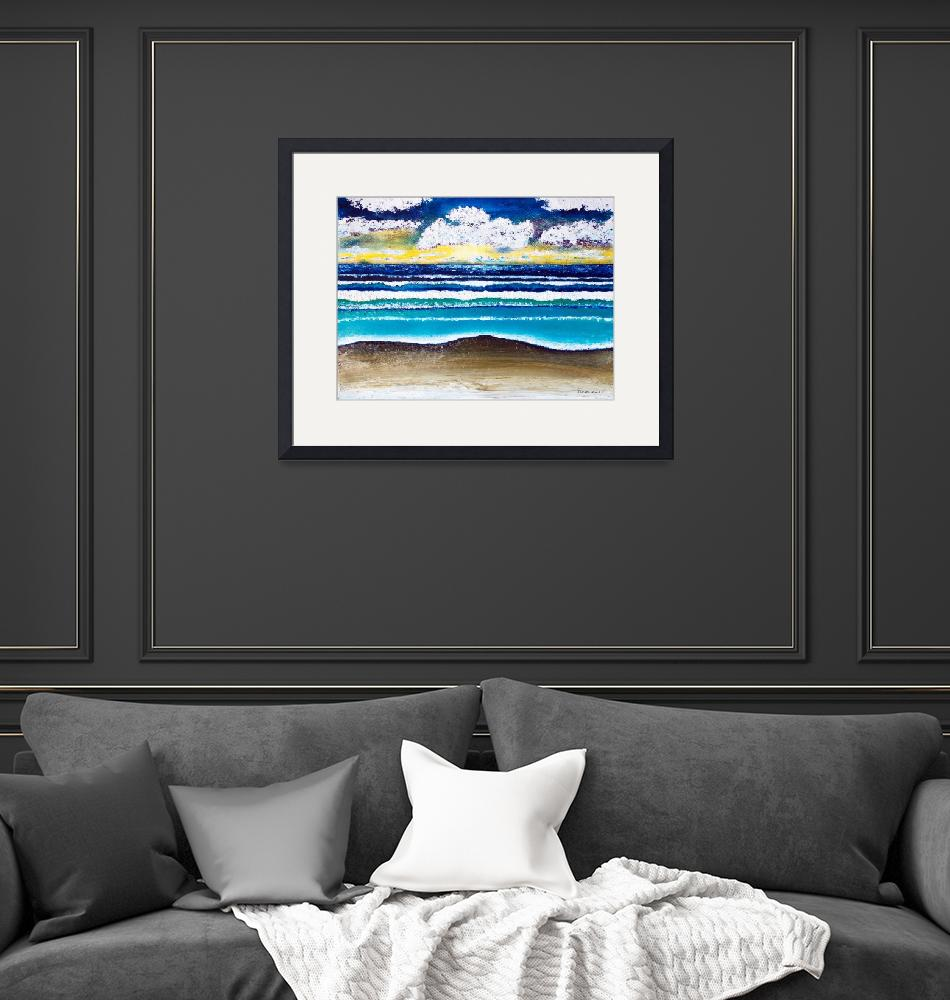 """Emerald Coast Seascape Sunrise Painting C1""  (2015) by Ricardos"