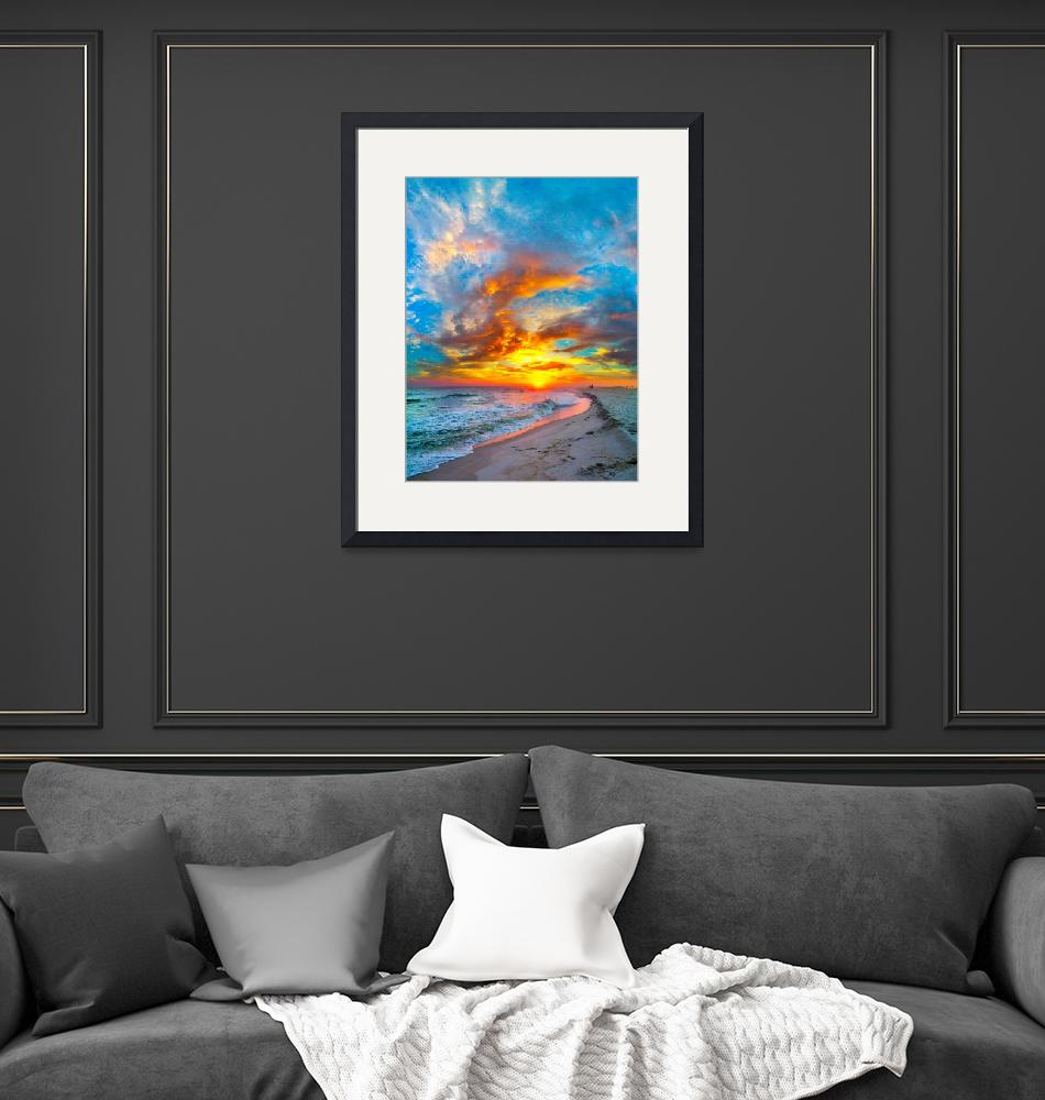 """""""colorful ocean sunset  red blue vertical panorama""""  (2015) by eszra"""