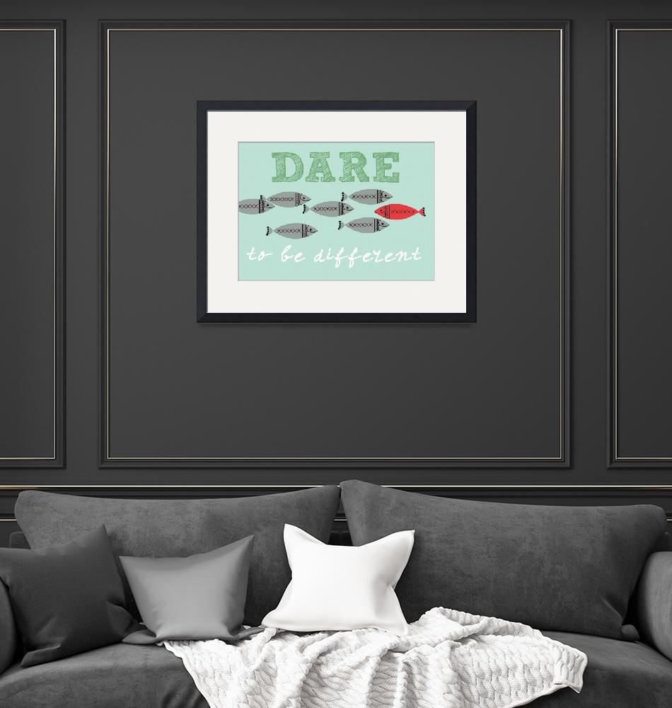 """Scandinavian design fish poster dare to be free""  (2012) by Lebonvintage"