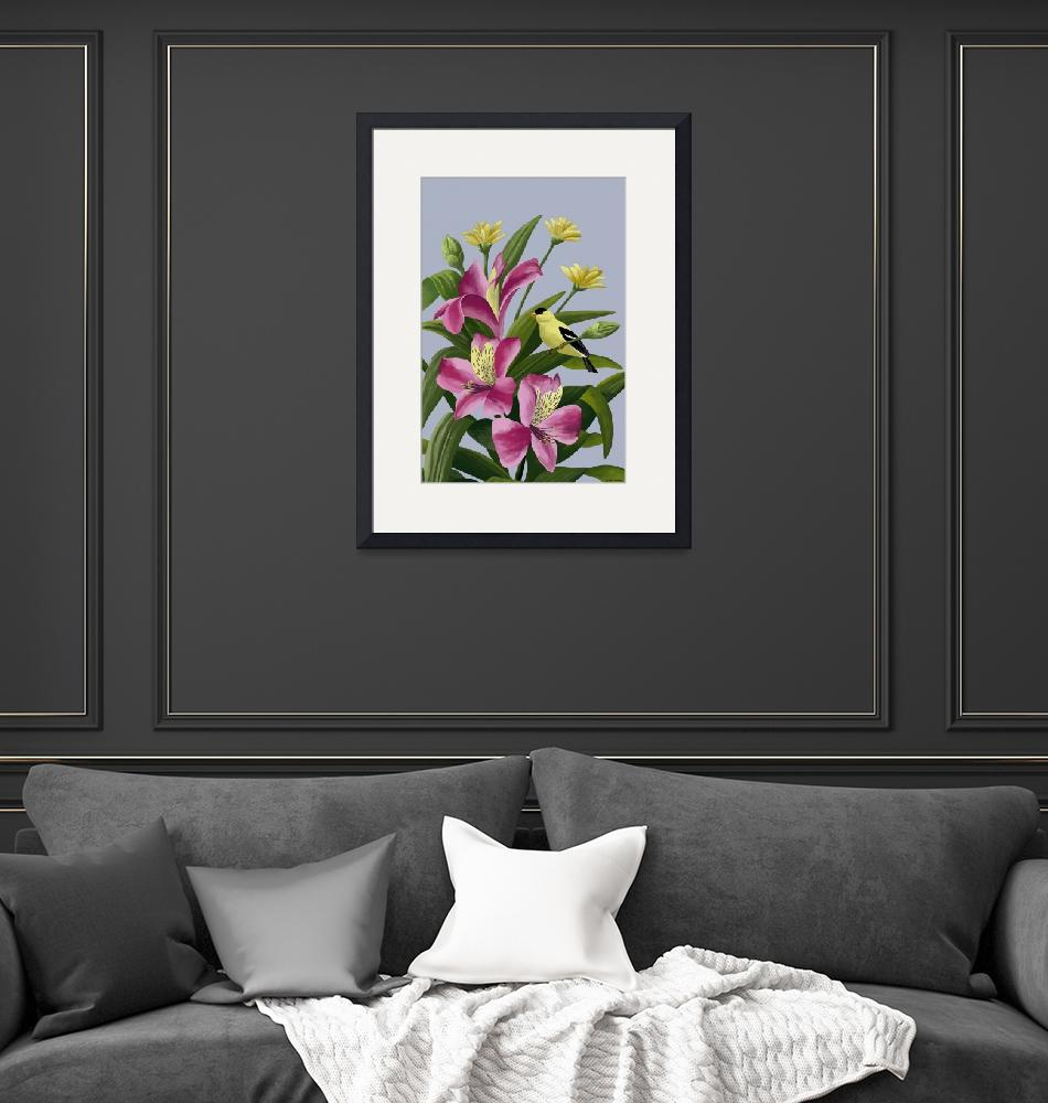 """""""Flowers With Goldfinch""""  by waterart"""