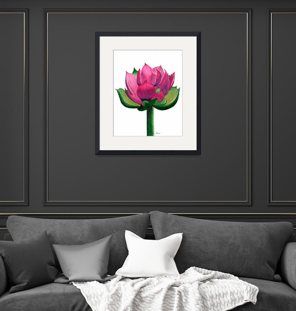 """""""Red and Pink Lotus Floral Watercolor Painting 619""""  (2017) by Ricardos"""