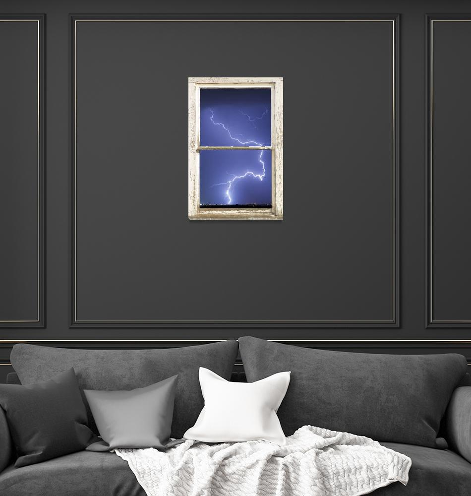 """Lightning Strike White Barn Picture Window Frame P""  (2012) by lightningman"